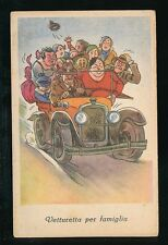 Motoring Transport car Italy comic family outing c1910/30s? PPC