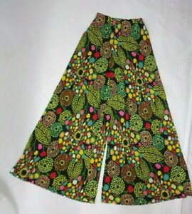 "Vintage 70s XS Pants Hippy Floral Geometric Print Palazzo High Waist 21"" Flare"