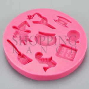 Spooky Halloween Silicone Mould Witch Cake Party Cookie Cupcake Topper Mold