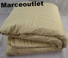 Pratesi Up & Down Cotton Sateen QUEEN Quilted Coverlet Gold