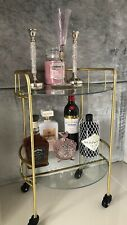 Art Deco Style 2 Tier Drinks Trolley Cabinet On Wheels Brand New Gin Bar
