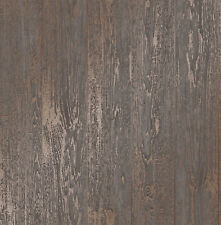 Brown Metallic Copper Wood Effect Wallpaper Wooden Grain Loft Distressed Wood
