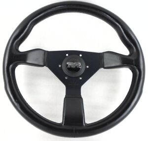 Genuine Personal Grinta black leather steering wheel, TVR horn button 350mm 7D
