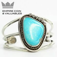 Sterling Silver Cuff with Large Turquoise Stone, Native American Jewelry
