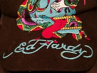 Ed Hardy Kids Hat Cap Black One Size Embroidered Eagle Snake Skull Authentic EdH