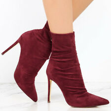 Women Winter Ankle Boots Pointed Toe High Heel Stiletto Pump Zip Shoes Plus Size
