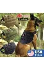 Tactical Vest Military Dog Harness K9 Nylon Molle Hunting Training Pouch Bag USA