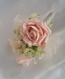 Vintage Peach Rose Pin Corsage Wedding Flowers Bridal Wedding Gypsophila