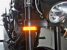 Victory Vegas Razor 43mm Fork LED Turn Signal Light Bars; Double Row; Clear Lens