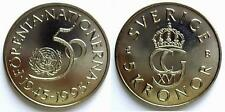 SWEDEN 5 KRONA KRONOR BU 1995 1 PCS FROM COIN ROLL 50th ANNIV. OF UNITED NATIONS
