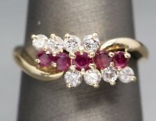 1.00ctw Ruby and Diamond Cluster Anniversary Birthstone Ring 14k