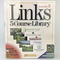 1996 Sealed Links 5 Course Library Vol 3 PC CD-ROM Windows Mac Microsoft Golf