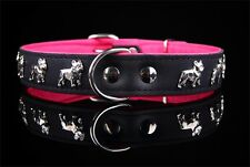 Motiv Halsband Französische Bulldogge 3cm breit French Bulldog Lederhalsband