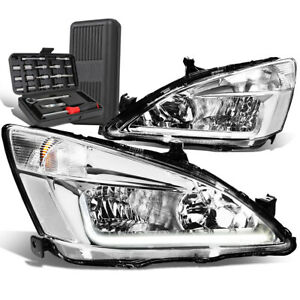 For 2003-2007 Honda Accord LED DRL Chrome Housing Clear Side Headlights+Tool Box