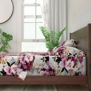 Purple Floral Flowers Illustration 100% Cotton Sateen Sheet Set by Roostery