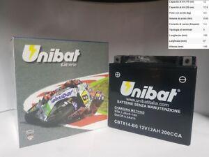 Batterie Moto UNIBAT YTX14-BS Malaguti Spidermax Gt 500 2004 2005 2006 2007