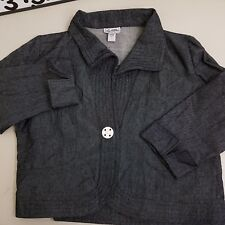 Two Wishes Jacket Women's Size XL Extra Large Black White Striped Linen Blend