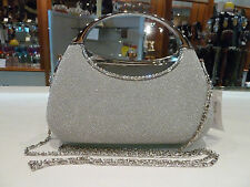 Silver Womens clutch bag/Evening bag/quality fashion handbag. NWT Postage free.