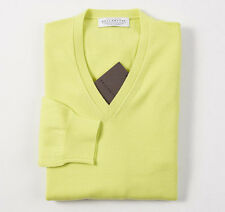 NWT $700 BALLANTYNE Chartreuse 100% Cashmere Sweater 46/S Made in Scotland