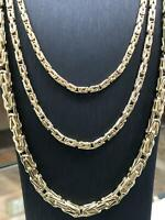 585 14ct Yellow GOLD Solid Mens Ladies FLAT BYZANTINE KING Chain Bracelet NEW