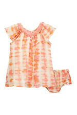 NWT Jessica Simpson Cotton 2 Pc Baby Dress Set w Bloomers Peach/Orange 24 Month