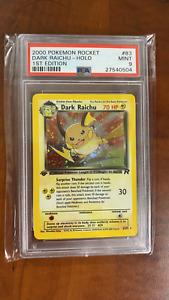 PSA 9 Mint 1st Edition Dark Raichu #83 Team Rocket Holo Secret Rare Pokemon