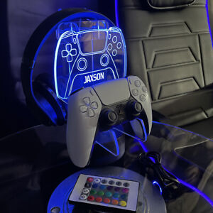 Personalised Playstation PS5 Controller Headset Stand Gaming Station light base
