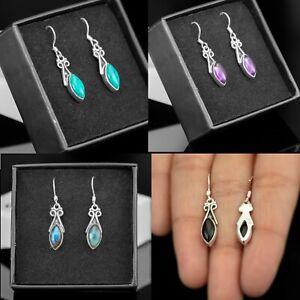 Sterling Silver 925 Ladies Marquise Gemstone Amethyst Onyx Garnet Drop Earrings