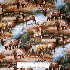Wild Wings Fabric - Elk & Deer Autumn Forest Scene - Cotton YARD