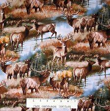 Wild Wings Fabric - Elk & Deer Autumn Forest Scene - Cotton YARD