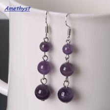 Silver Plated Natural Semi-Precious Gemstone Drop Bead Earrings Purple AMETHYST