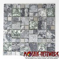 Mosaik Fliese Kombination Glasmosaik Natursteinmosaik/Stahl grau Wand- 88-0204_b