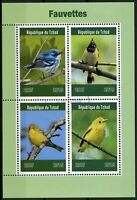 Chad 2019 CTO Warblers Warbler 4v M/S Fauvettes Birds Stamps