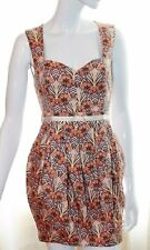 Miss Selfridge Orange Copper Pink Floral Sweetheart Tulip Mini Summer Dress 10