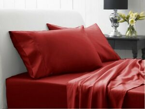 Burgundy Solid Attached Waterbed Sheet 1000 TC 100% Cotton With POLE Attachment
