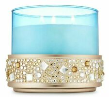 2 BATH BODY WORKS ROSE GOLD GEMS GLITTER LARGE 3 WICK CANDLE HOLDER SLEEVE 14.5