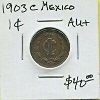 MEXICO - FANTASTIC HISTORICAL COPPER 1 CENTAVO, 1903 C, CULIACAN MINT, KM# 394