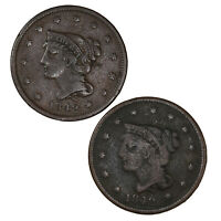 Raw 2 Pack 1842 Braided Hair 1C Large Date Small Date Copper Large Cent Coin Lot
