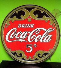 "Retro Coca Cola 5 Cents 11.75"" 30 cm Round - Metal Tin Sign Free Shipping 1821"