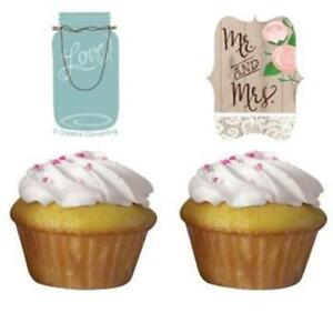 Rustic Wedding Cupcake Toppers 12 Pack Bridal Shower Decoration