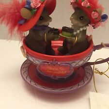 Fitz & Floyd Charming Tails Red Hat Society Mice You're So Tea-lightful