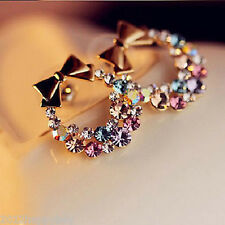 Korean Girls Lady Sweet Bowtie Garland Colorful Rhinestone Earring Ear Stud Gift