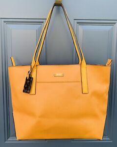 Tumi Villa Q Tote Orange Leather Bag Handbag Preowned Retail $450