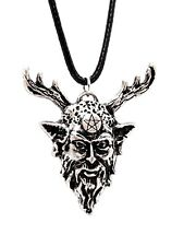 Horned God Pendant Pentacle Herne Corded Beaded Necklace Pagan Wiccan Jewellery