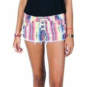 Billabong LITE HEARTED Multi Striped Faded Distressed Cut Off Junior's Shorts