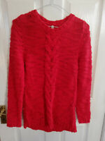 STRADIVARIUS WOMENS RED KNITTED JUMPER SIZE 8 SMALL LONG SLEEVE PIT TO PIT 17