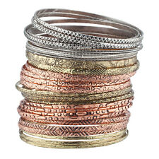 Lux Accessories Multicolored Tribal Ethnic Plated Womens Bangle Bracelets 28pcs