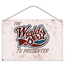 The Worlds Mejor TV presentador - Estilo Vintage Metal Grande Placa Letrero