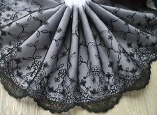 "1 Yard 7"" ~Venise Embroidered Lace Trim Floral Bunch Scalloped Lady Dress Black"