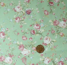 DUSKY GREEN WITH PINK & CREAM ROSES 100% COTTON FABRIC FQ'S